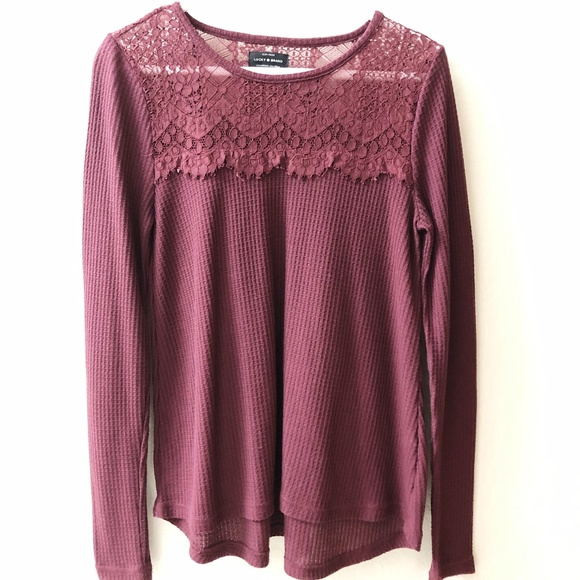 Lucky Brand Tops - Lucky Brand lace trim shirt